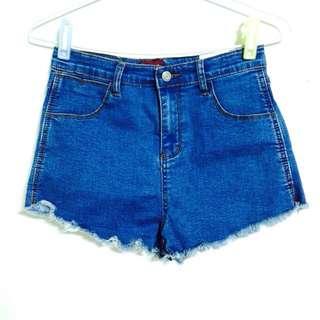(全新)百搭高腰深色褲管小刷破牛仔短褲