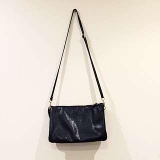 Black Shoulder Sling Bag/Clutch (Leather Look)
