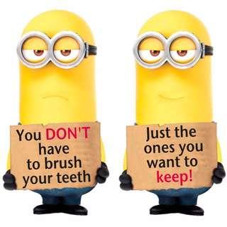 Minions Brush your Teeth Sticker - Make Brushing Teeth Fun
