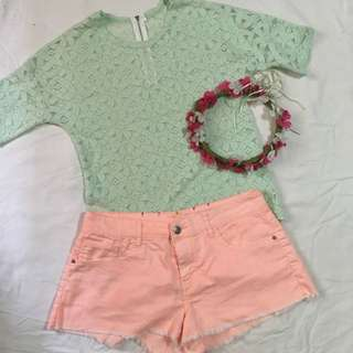 Mint Green Lace Blouse