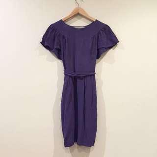 *Yeojin Bae* Designer 100% Silk Purple Bow Back Cocktail Dress Size 6