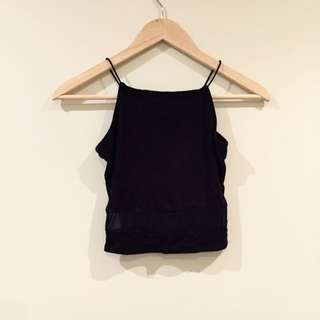 Misguided Black Crop Top Size 6