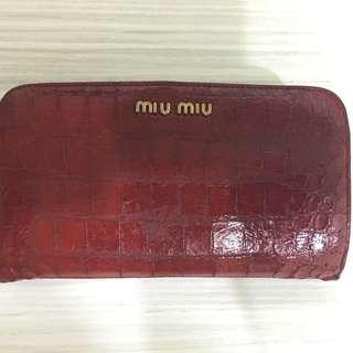 義大利製 MIU MIU 酒紅色中夾