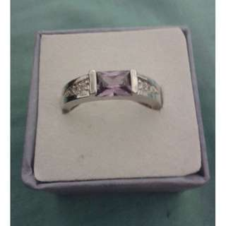 Silver Plated Light Purple Ring