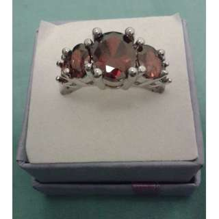 Silver Plated Dark Ruby CZ Ring
