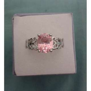 Silver Plated Dainty Pattern Pink CZ Ring