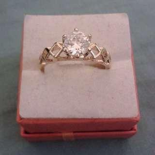 Gold Plated Dainty Rhinestone Crystal Ring