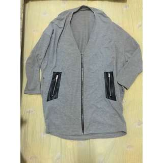 厚棉長版拼接造型外套