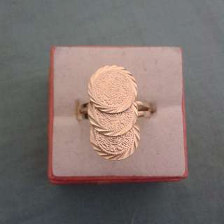 Gold Plated Adjustable 3 Rings Coins Ring