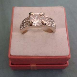 Gold Plated Thick CZ Crystals Ring