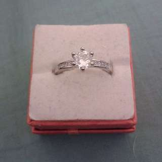 Silver Plated Thin CZ Crystals Ring