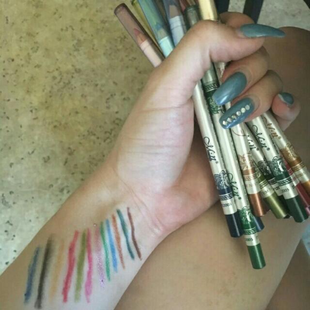 10 pieces 3 in 1 lipliner,  eyeliner,  brow definer with glitter