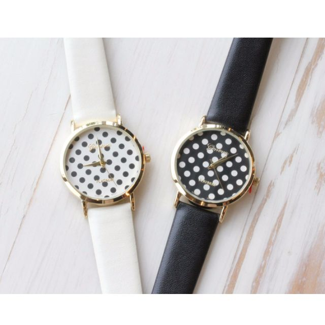 【特價】韓國玉水點點 波點 滿版金邊皮革錶帶 手錶/對錶/學生錶