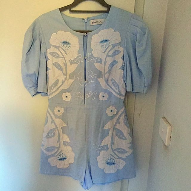 Alice McCall Blue Embroidered Playsuit