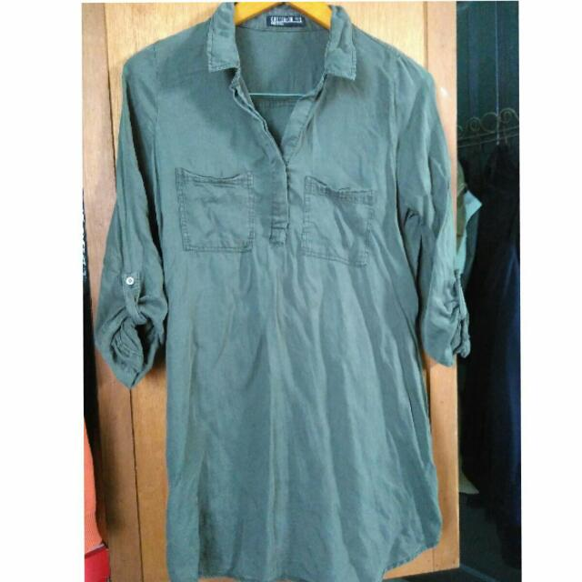 Army Green Cotton Ink Shirt Dress