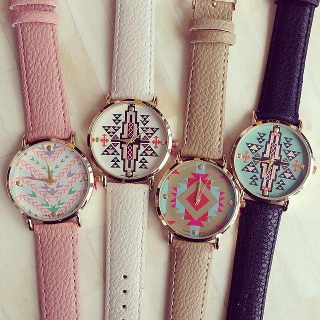 🌈Aztec新款繽紛撞色幾何圖形手錶 對錶