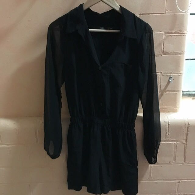Black Button Up Play suit With Sheer Sleeves