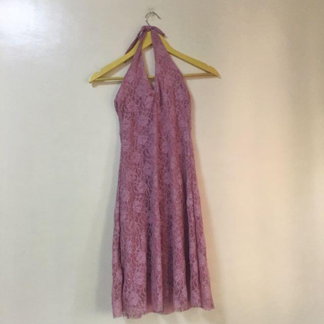 Blush Halter Nude Dress
