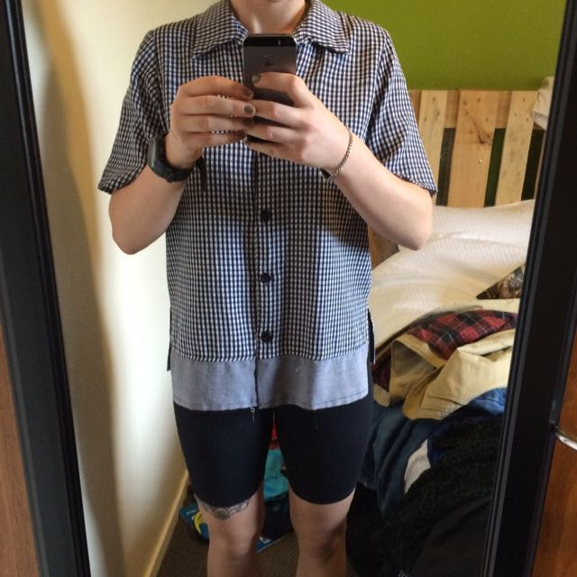Cute Button Up Checkered Blue And White Short Sleeve Shirt