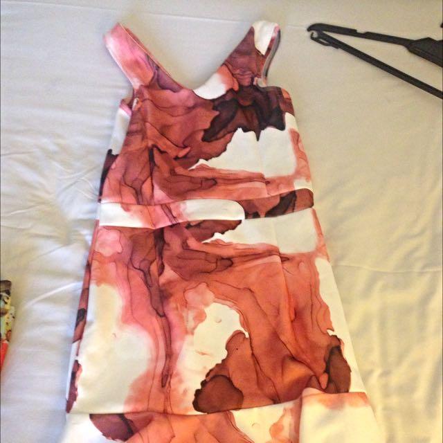 Dress corak Orange Peach