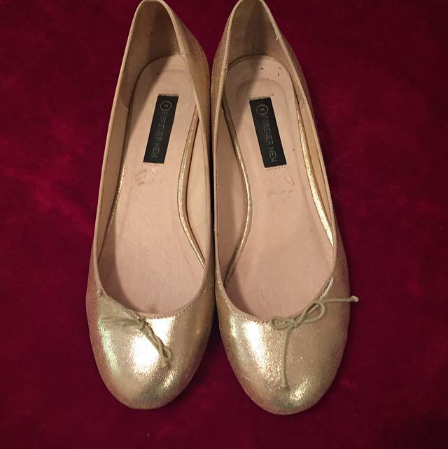 Forever New Gold Slip On Size 8