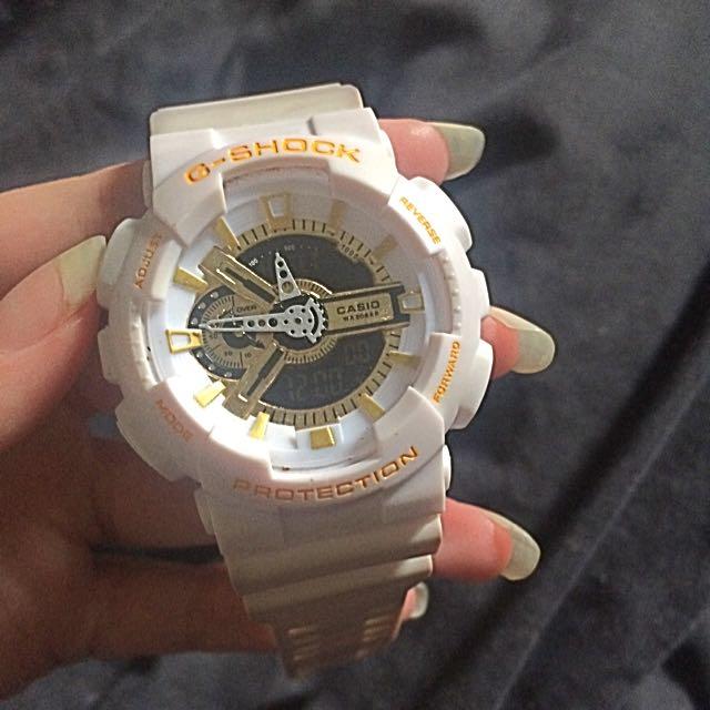 G Shock Watch (White & Gold)