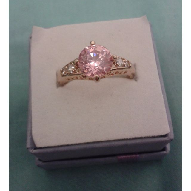 Gold Plated Pink CZ Crystal Ring