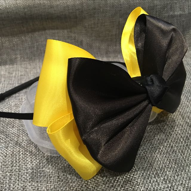 Handmade Big Black And Yellow Bow Inspired By Wiggles Emma