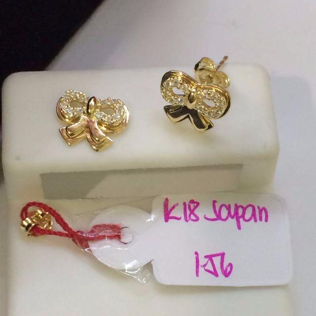 Japan Gold 18k Ribbon stud earrings