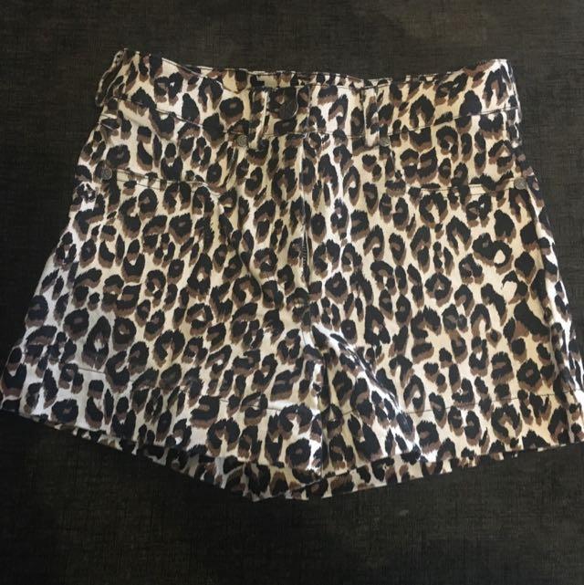 Kookai High Waisted Demin Look Leopard Print Shorts