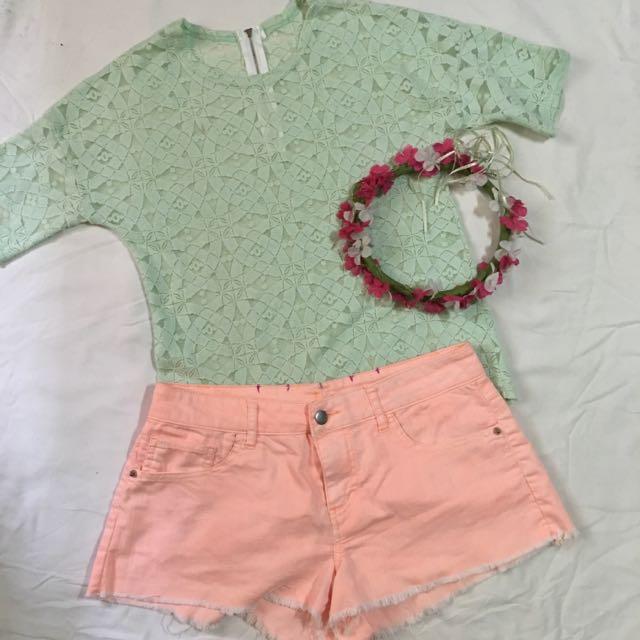 Mint Green Lace Blouse