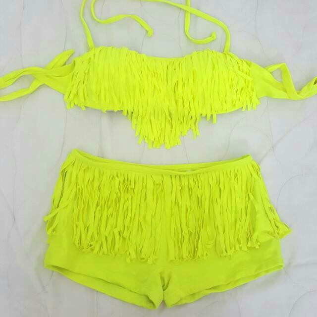 Neon Yellow Fringe Swimsuit