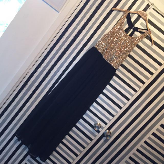 Nika (?) Blossom Size 8 Gold Sequined Black Formal Cocktail Dress