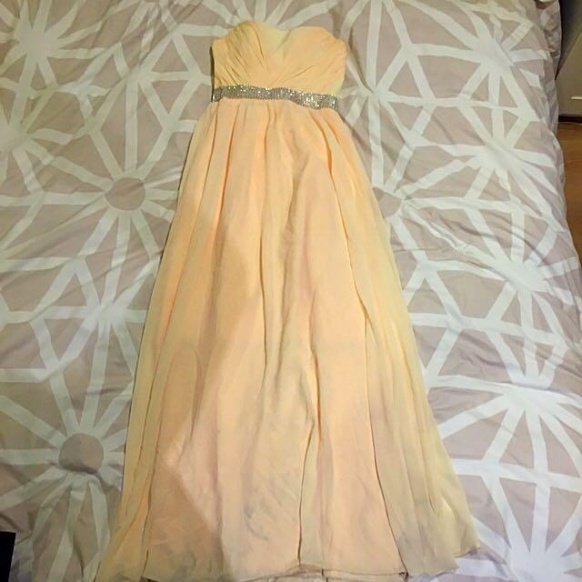 Peach Coloured Strapless Formal Dress