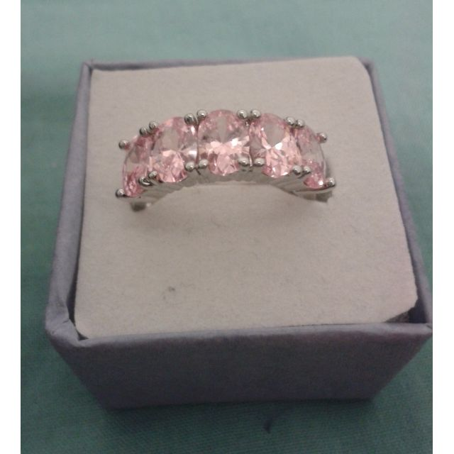 Silver Plated 5 Pink CZ Crystals Ring