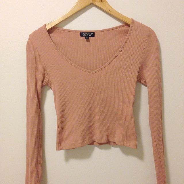 Topshop Pink Cropped Swwater