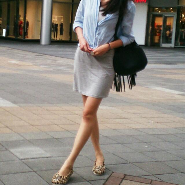 Uniqlo亞麻藍色襯衫