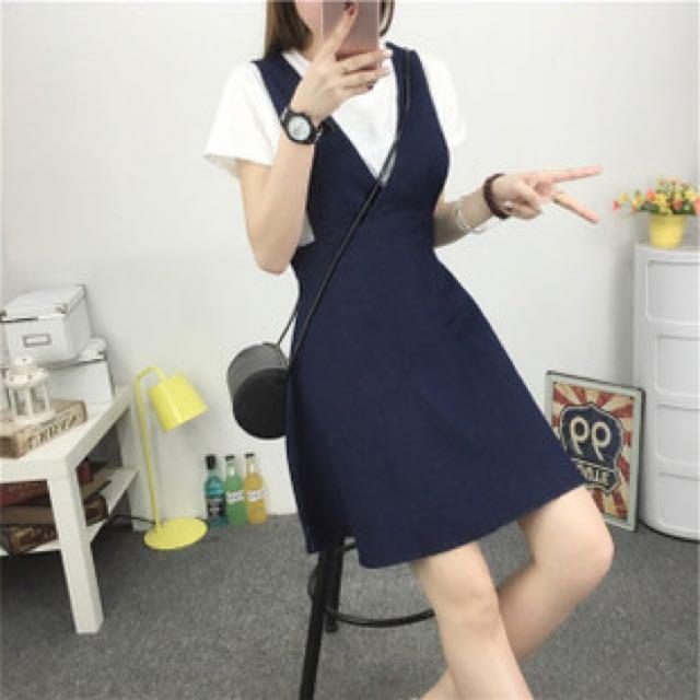 V領吊帶裙 連身