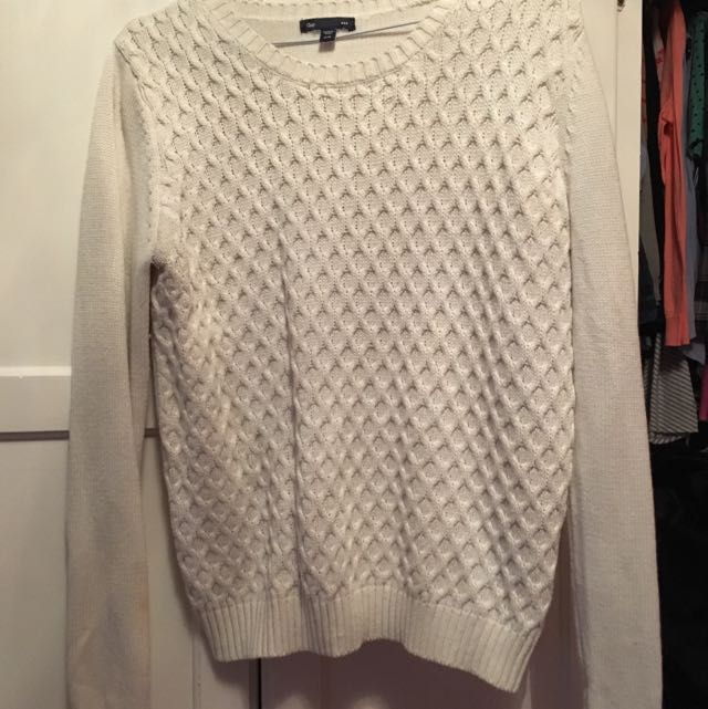 White Woven Sweater