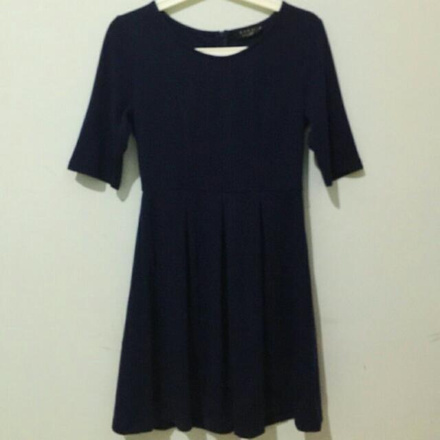 Zalora Navy Blue Skater Dress