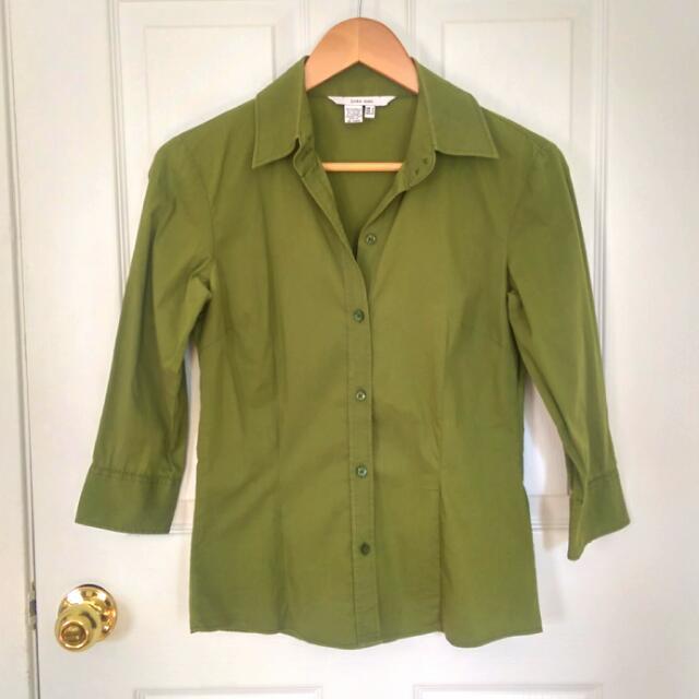Zara Basic Green Fitted Blouse