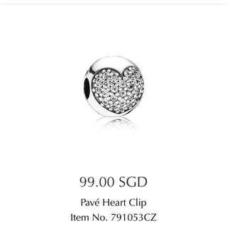 PANDORA Pave Heart Clip