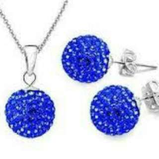 Silver Plated Crystal Disco Ball Style Sapphire Dark Blue Necklace and Earrings Set