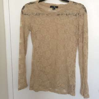 Forever 21 Nude Lace Shirt