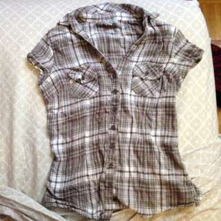 Charlotte Russe Short Sleeved Grey Flannel Plaid Shirt