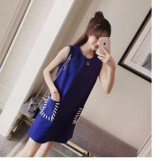A-Line Dress in Blue [Korean Style]