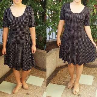 Skater Dress (Black Polka Dots)