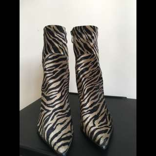 Zebra Print Ankle Boots Size 8 New