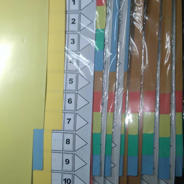 資料分類索引;10段活頁分段紙