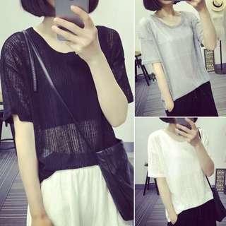 🚚 夏季女裝韓版新款簡約百搭寬鬆打底上衣透視針織短袖T恤